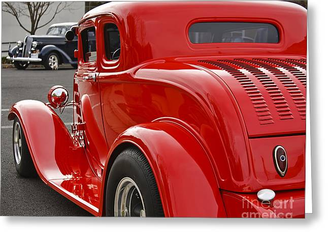 Deuce Coupe Greeting Cards - Red Coupe Greeting Card by Dennis Hedberg