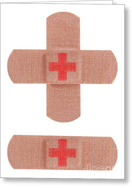 Adhesive Greeting Cards - Red cross bandages Greeting Card by Blink Images