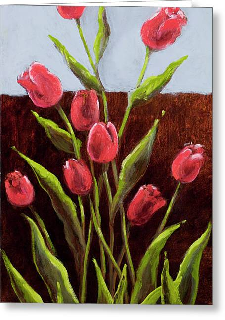 Red Delight-tulips Greeting Card by Vic  Mastis