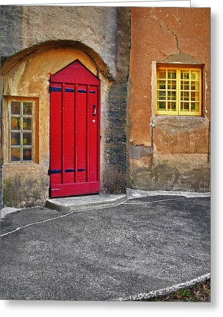 Medieval Entrance Greeting Cards - Red Door and Yellow Windows Greeting Card by Susan Candelario