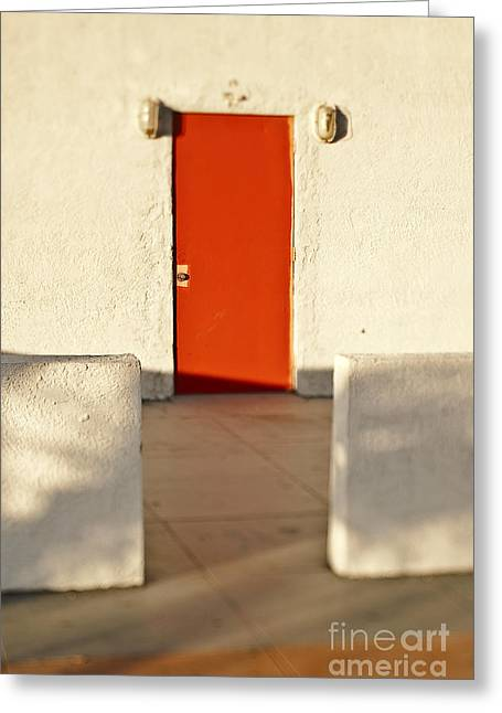 Low Wall Greeting Cards - Red Door in Wall Greeting Card by Eddy Joaquim