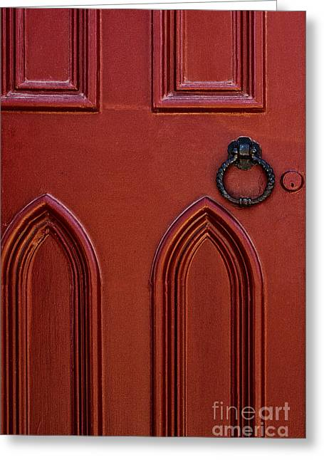 Entrance Door Greeting Cards - Red Door Greeting Card by Margie Hurwich