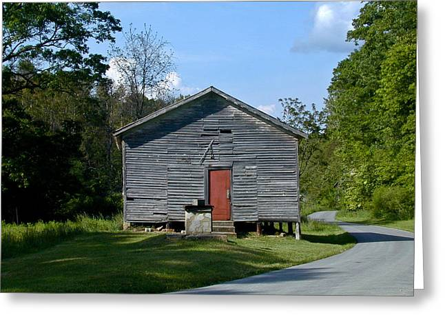 Red School House Photographs Greeting Cards - Red Door of the One Room School House Greeting Card by Douglas Barnett