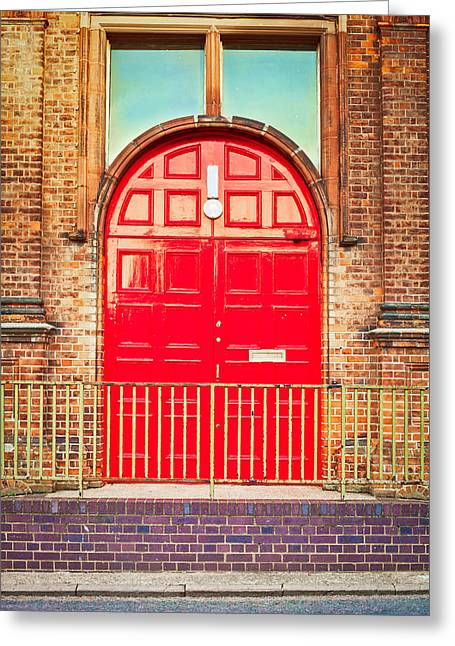 Brick Buildings Greeting Cards - Red door Greeting Card by Tom Gowanlock