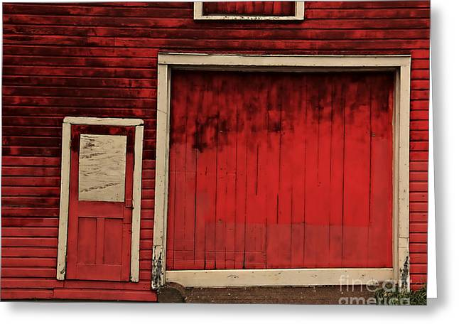 Red Buildings Greeting Cards - Red Doors Greeting Card by Perry Webster