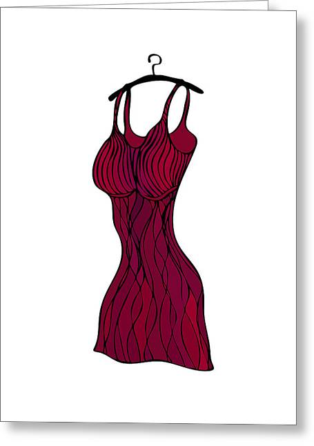 Fashion Illustration Drawings Greeting Cards - Red dress Greeting Card by Frank Tschakert
