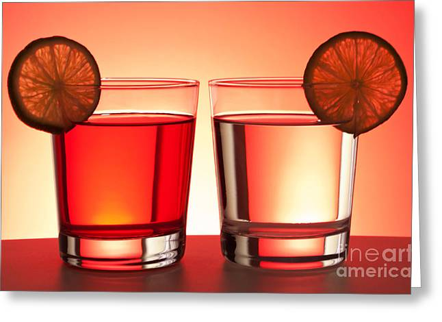 Lounge Photographs Greeting Cards - Red drinks Greeting Card by Blink Images