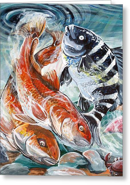 Jenn Cunningham Greeting Cards - Red Drums and a Sheephead Greeting Card by Jenn Cunningham