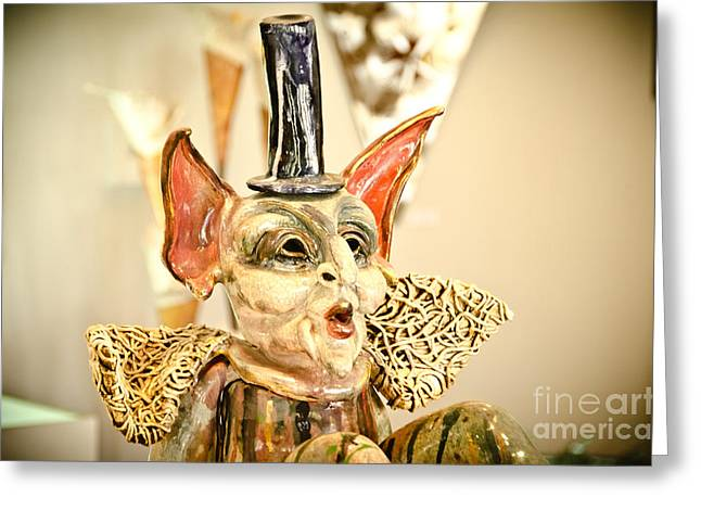 Noses Glass Art Greeting Cards - Red Ears Whistling Creature Greeting Card by Yurix Sardinelly