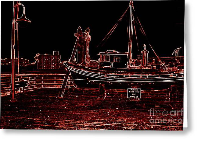 Santa Cruz Wharf Greeting Cards - Red Electric Neon Boat on SC wharf Greeting Card by Garnett  Jaeger
