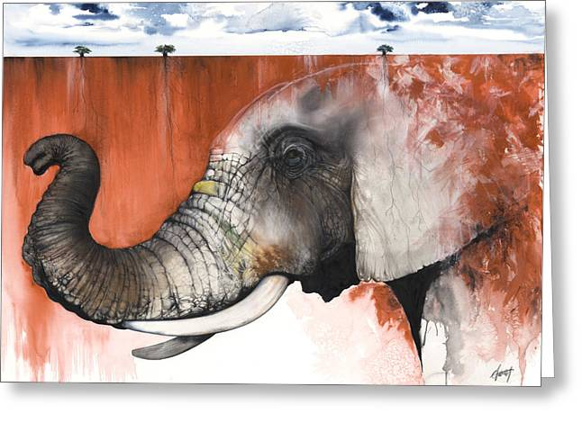 Roots Mixed Media Greeting Cards - Red Elephant Greeting Card by Anthony Burks Sr