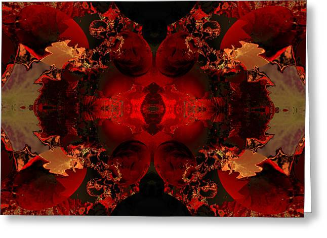 Algorithmic Abstract Greeting Cards - Red Embers Greeting Card by Claude McCoy