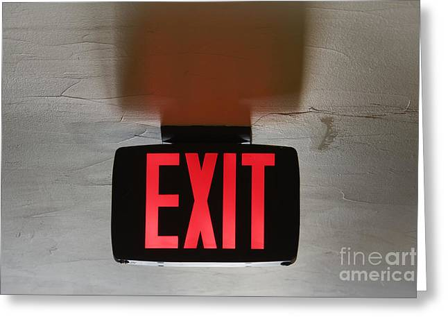Exit Sign Greeting Cards - Red Exit Sign on Ceiling Greeting Card by Jeremy Woodhouse