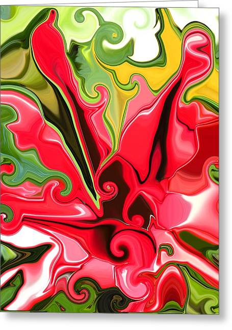 Recently Sold -  - Abstract Digital Paintings Greeting Cards - Red Fantasy Lily Greeting Card by Renate Nadi Wesley