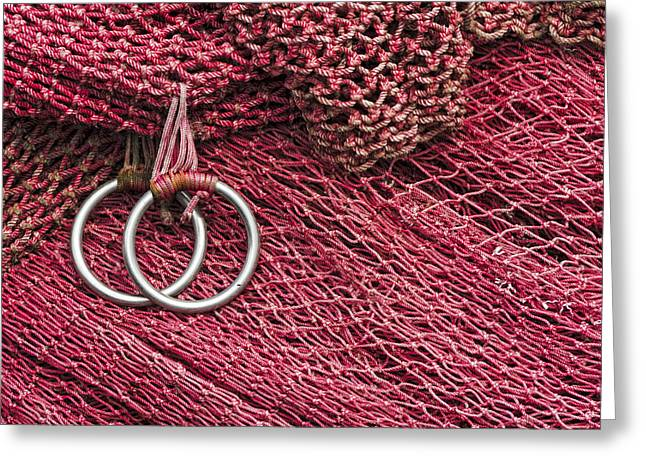 Pacific Northwest Greeting Cards - Red Fishing Nets Greeting Card by Carol Leigh