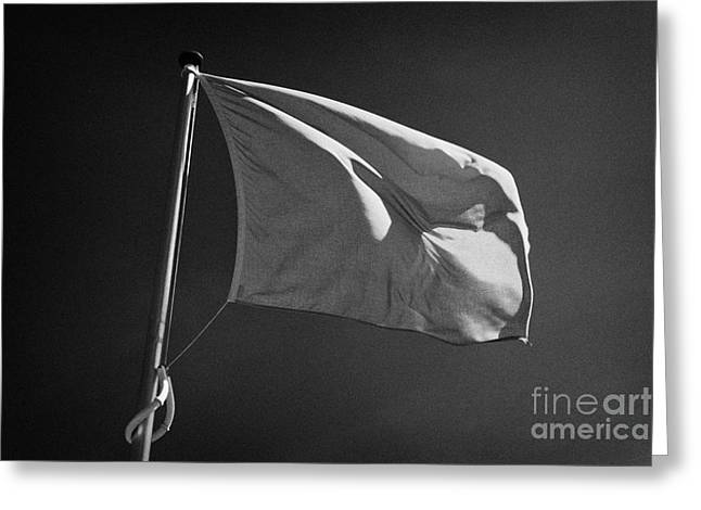 Battlefield Site Photographs Greeting Cards - red flag flying marking the hanoverian english line Culloden moor battlefield site highlands scotl Greeting Card by Joe Fox