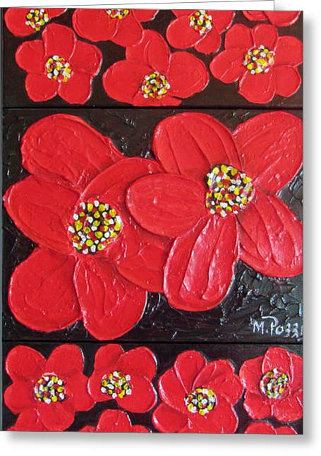 Framed Reliefs Greeting Cards - Red flowers Greeting Card by Merlene Pozzi