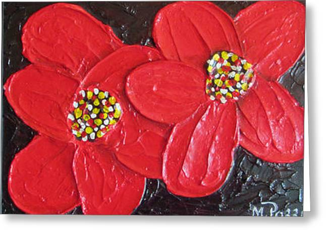 Red flowers Greeting Card by Merlene Pozzi