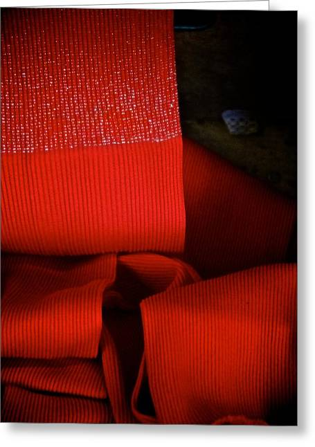 Textile Museum Greeting Cards - Red Folds Greeting Card by Odd Jeppesen