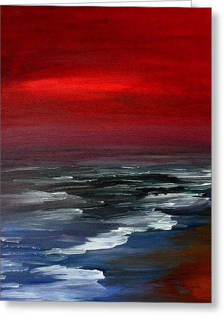 Sunset Seascape Paintings Greeting Cards - Red For Love Greeting Card by Julie Lueders