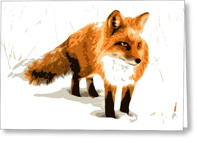 Red Fox Greeting Cards - Red Fox in Winter Greeting Card by DB Artist