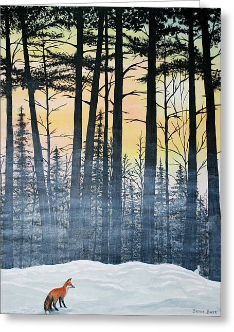 Pines Greeting Cards - Red Fox Morning Hunt Greeting Card by Brenda Baker