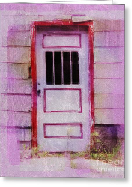Old House Photographs Greeting Cards - Red Framed Door Greeting Card by Perry Webster