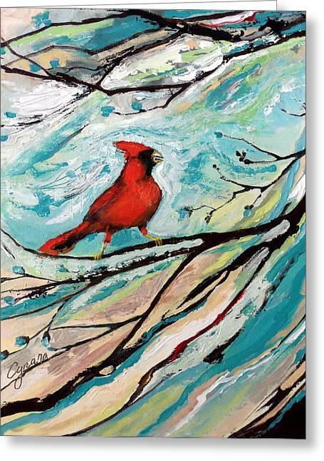 Print On Acrylic Greeting Cards - Red Fury Greeting Card by Cynara Shelton