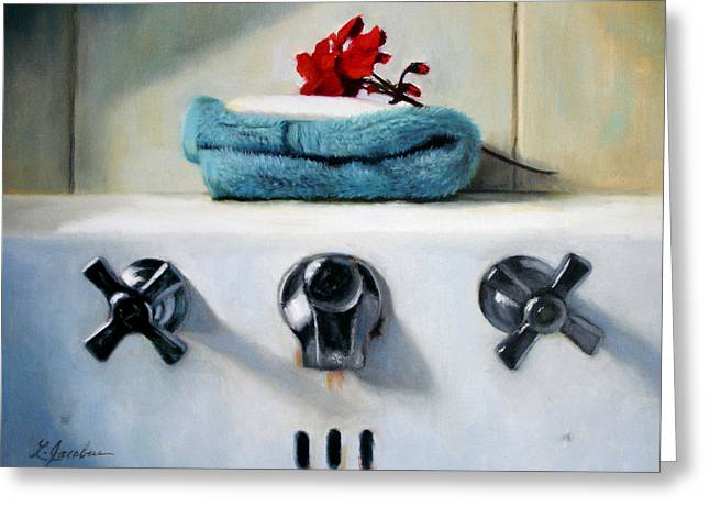 Red Geranium Greeting Cards - Red Geranium and Old Sink Greeting Card by Linda Jacobus
