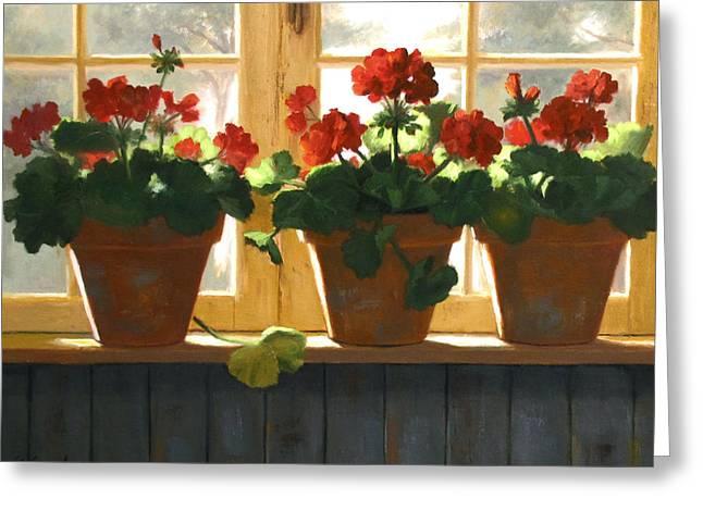 Geranium Greeting Cards - Red Geraniums Basking Greeting Card by Linda Jacobus