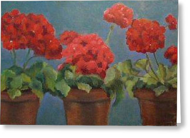 Red Geraniums Paintings Greeting Cards - Red Geraniums Greeting Card by Brenda Williams