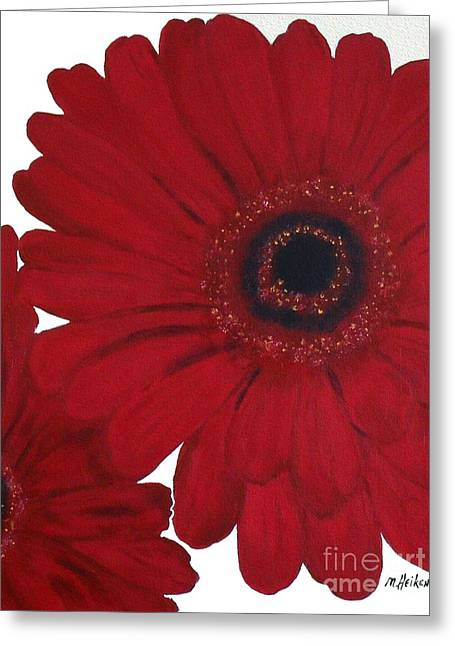 Wrapped Canvas Greeting Cards - Red Gerber Daisy Greeting Card by Marsha Heiken