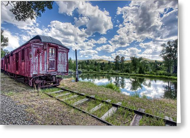 Rail Siding Greeting Cards - Red Ghost Town Train - Montana Greeting Card by Daniel Hagerman