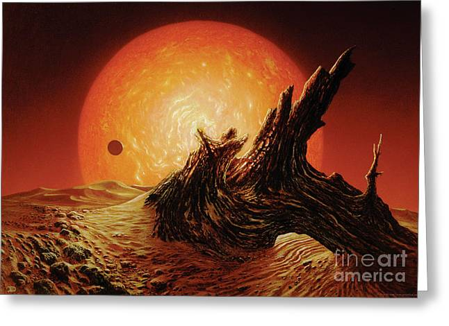 Astronomy Paintings Greeting Cards - Red Giant Sun Greeting Card by Don Dixon