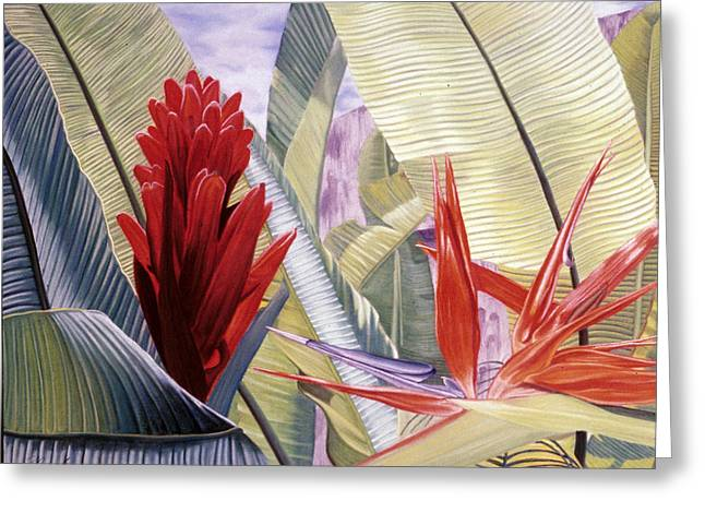 Fauna Pastels Greeting Cards - Red Ginger and Bird of Paradise Greeting Card by Stephen Mack