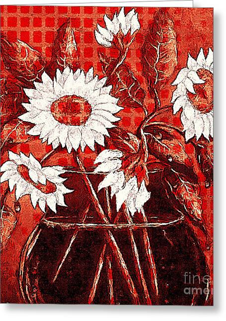 Glass Flowers And Leaves Greeting Cards - Red Gingham and Sunflowers Greeting Card by Barbara Griffin
