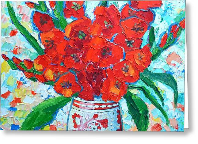 RED GLADIOLUS Greeting Card by ANA MARIA EDULESCU