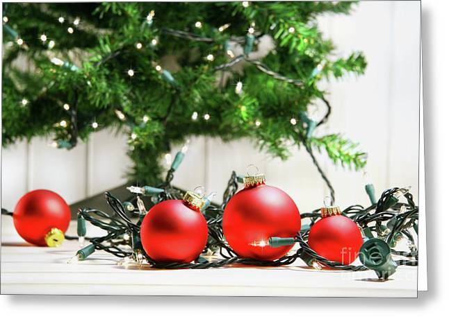 Red glass balls with lights  Greeting Card by Sandra Cunningham