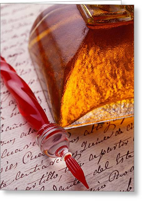 Calligraphy Pen Greeting Cards - Red Glass Pen  Greeting Card by Garry Gay