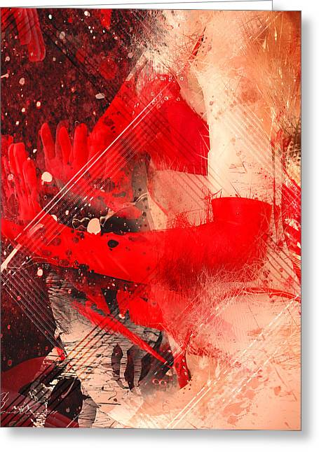 Sexy Young Woman Greeting Cards - Red Gloves Greeting Card by Svetlana Sewell