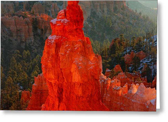Red glow of the sunrise on Thor's Hammer in Bryce Canyon Greeting Card by Pierre Leclerc Photography