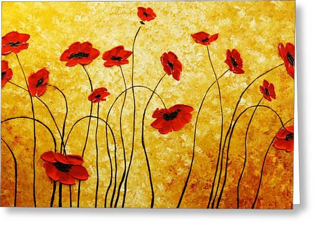 Red Gold Greeting Card by Irena Sherstyuk