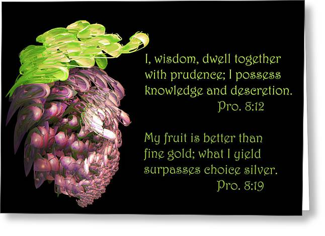 Grape Leaves Digital Greeting Cards - Red Grapes Pro. 8 v19 Greeting Card by Linda Phelps