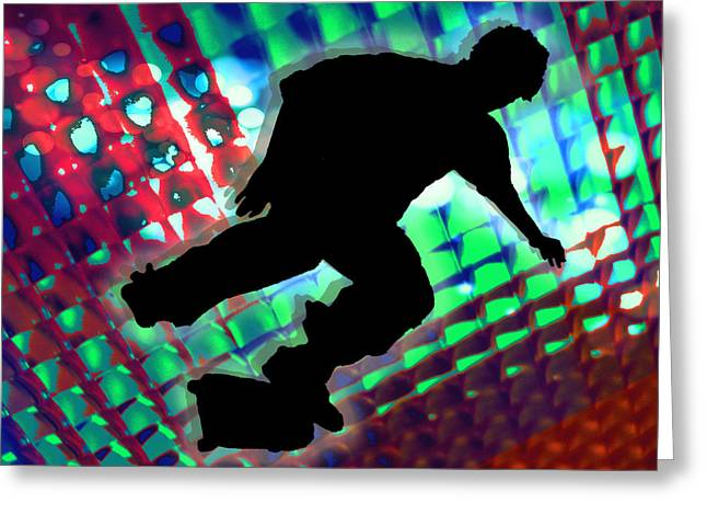 Skateboard Skate Boarding Sports Athletic Stunts Greeting Cards - Red Green and Blue Abstract Boxes Skateboarder Greeting Card by Elaine Plesser