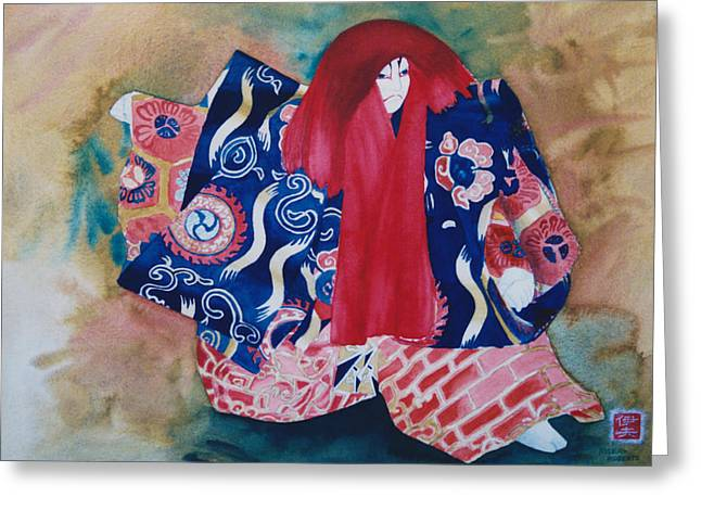 Dancer Pictures Greeting Cards - Red-haired Kabuki Dancer Greeting Card by Eve Riser Roberts