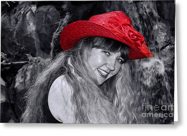 Eyebrow Greeting Cards - Red Hat and a Blonde Black and White Greeting Card by Mariola Bitner