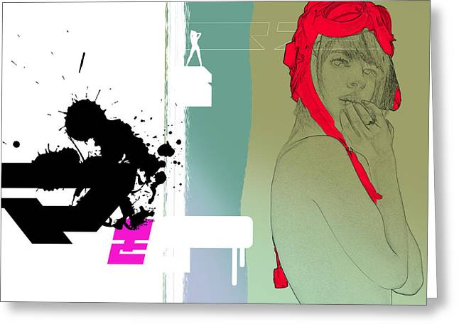 Sophisticated Woman Greeting Cards - Red Hat Greeting Card by Naxart Studio