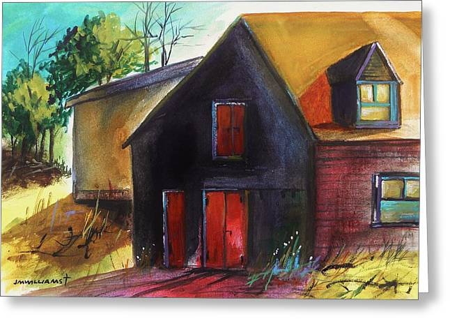 Jmwportfolio Drawings Greeting Cards - Red Hayloft Door Greeting Card by John  Williams