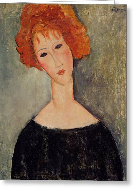 Black Dress Greeting Cards - Red Head Greeting Card by Amedeo Modigliani