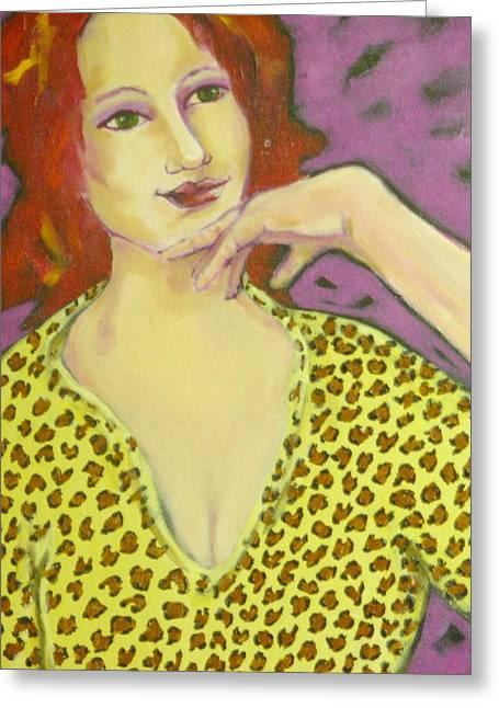 Maryann Greeting Cards - Red Head in Leopard Greeting Card by MaryAnn Ceballos